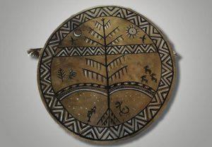 Шаманский бубен народов Сибири с изображениями Мирового дерева_1