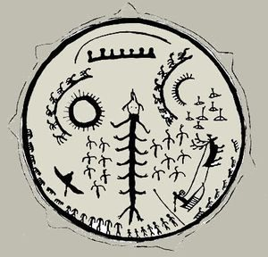 Шаманский бубен народов Сибири с изображениями Мирового дерева_2
