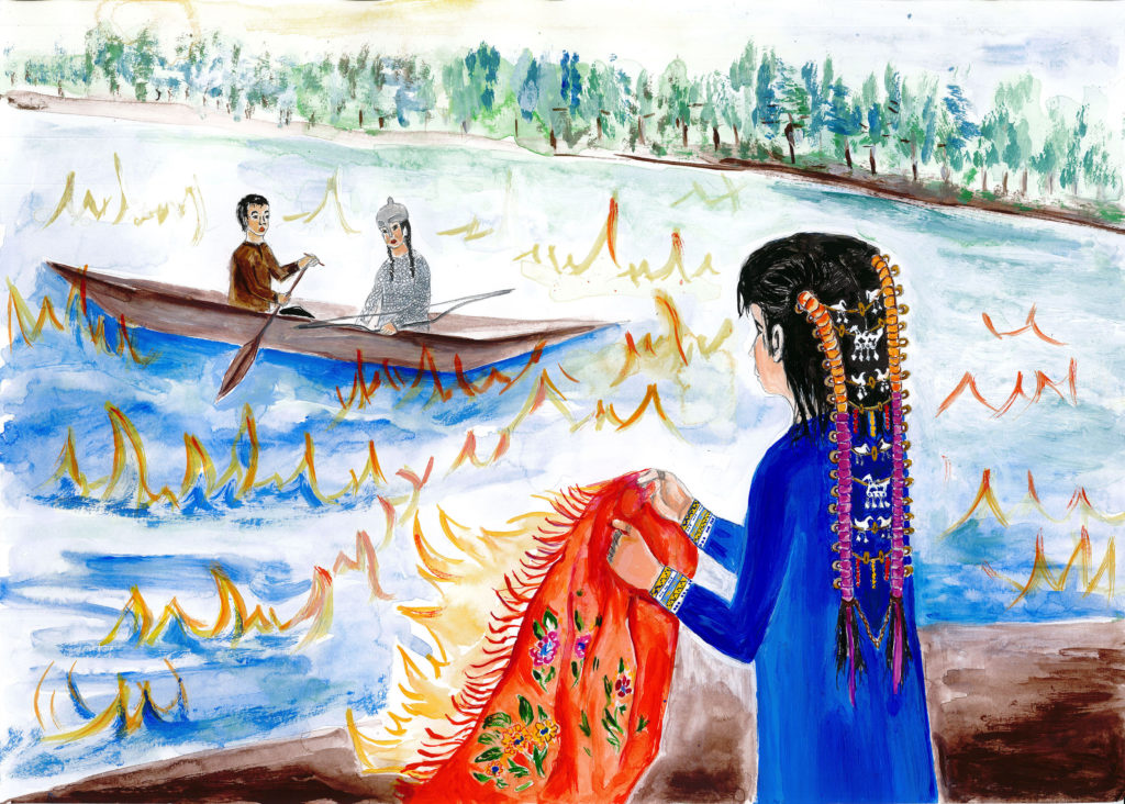 Иллюстрация к мансийскому фольклору с показом женской причёски в форме кос. Худ.: Е.С. Залозная (г. Томск)