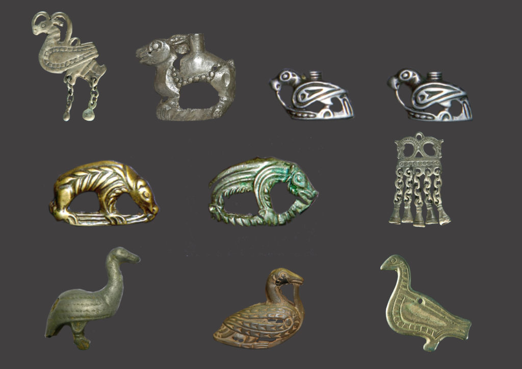 Средневековые накосные бронзовые подвески в виде птичек, медведей, коньков, зайцев и фантастических образов. Приуралье, Зауралье, Западная Сибирь