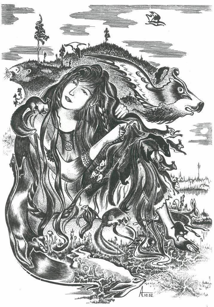 Лесная богиня, вычёсывающая животных из своих волос. Худ.: А.Д. Тимофеев (г. Томск)