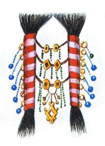 Передача традиции. Рисунок традиционной причёски в две косы из современного учебника хантыйского языка