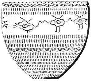 Орнаментальный мотив водоплавающих птиц в декоре глиняного сосуда. Бронзовый век (XVII–XIII вв. до н. э.). Поселение Малый Атлым (ХМАО – Югра, Октябрьский р-н). Фото: О.И. Белогай